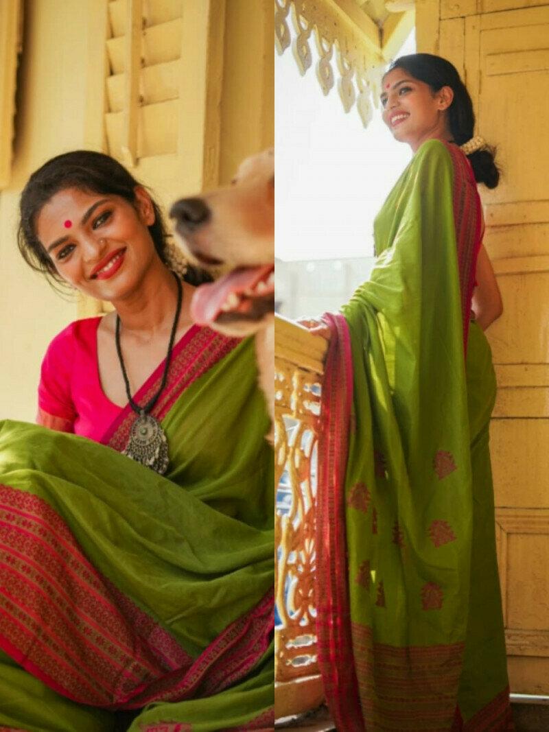 Designer Green Malmal Linen Cotton Saree