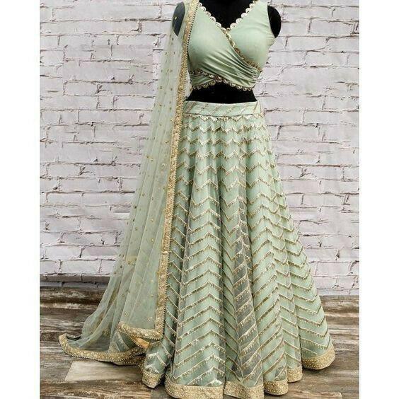 Designer Green Net Lehenga Choli