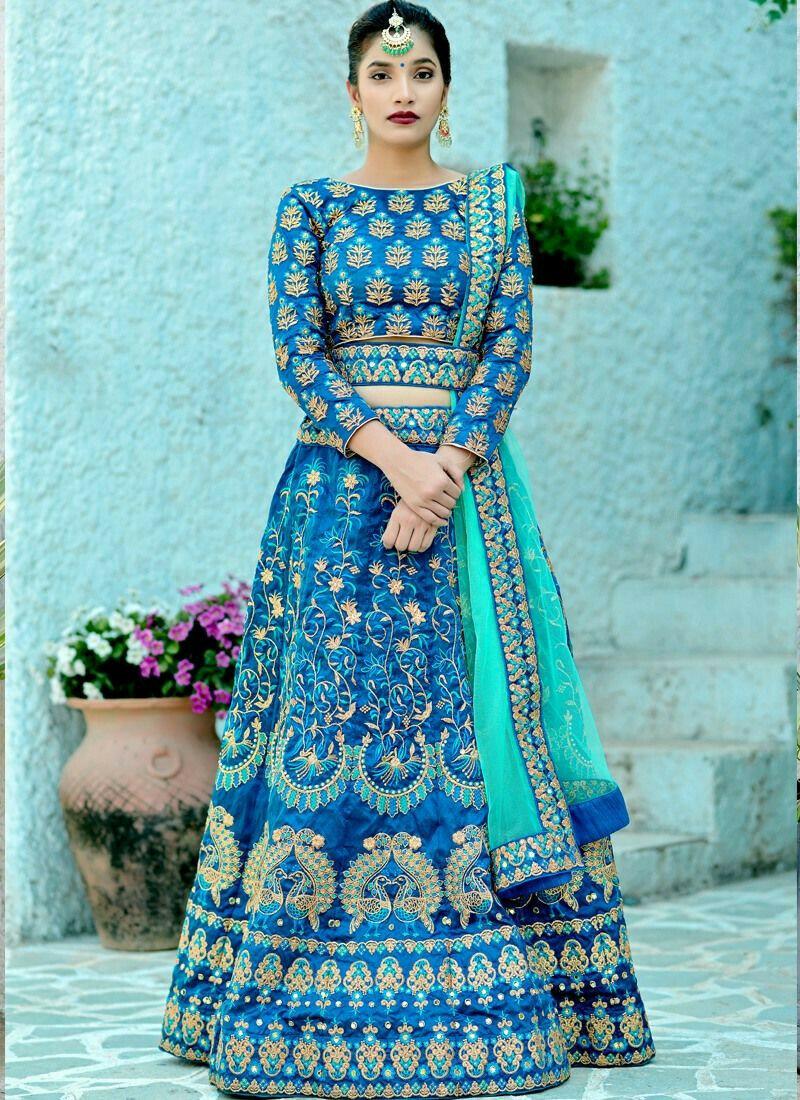 Designer Harbour Blue Silk Embroidered Wedding Lehenga Choli With Bridal Net Dupatta