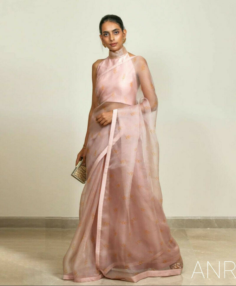 Designer Light Pink Organza Silk Saree