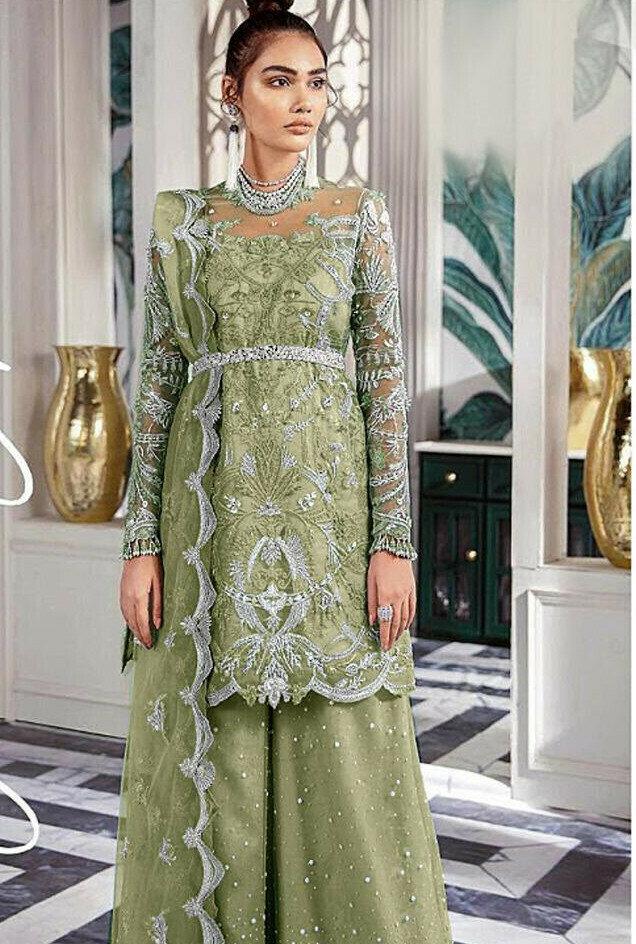 Designer Light Pista Color Sequin Work Sharara Suit