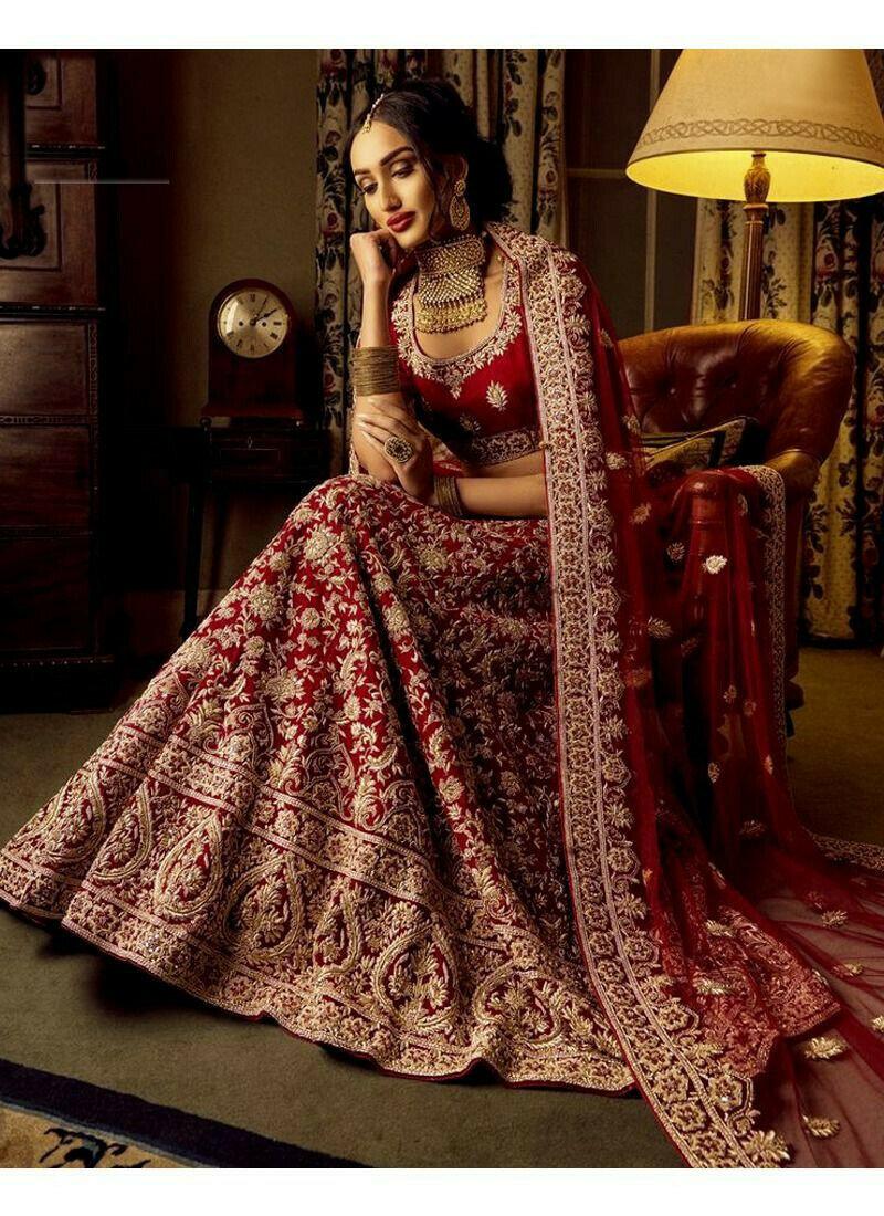 Designer Maroon German Silk Diamond Work Wedding Lehenga Choli With Mono Net Dupatta