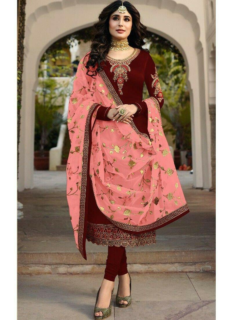 Designer Maroon Satin Georgette Churidar Salwar Suit