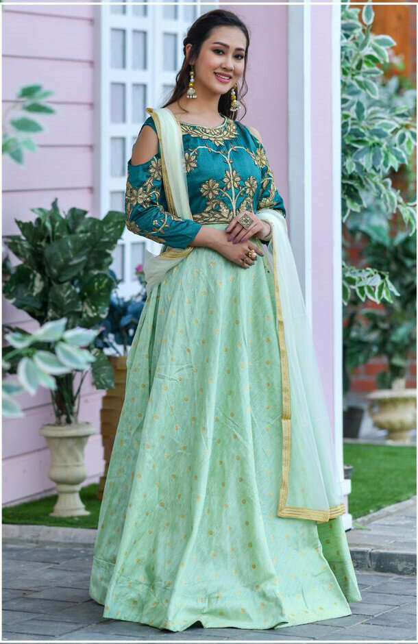Designer Pastel Pista Party Wear Long Gown With Dupatta