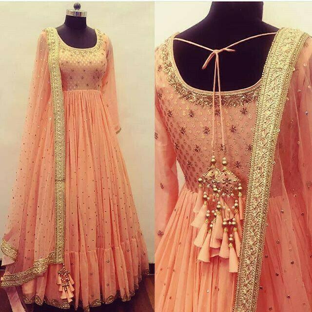 Designer Peach Color Long Gown