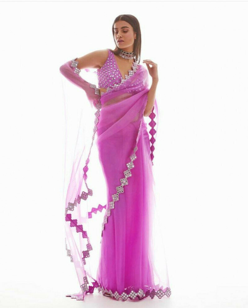 Designer Pink Color Butterfly Mono Net Saree