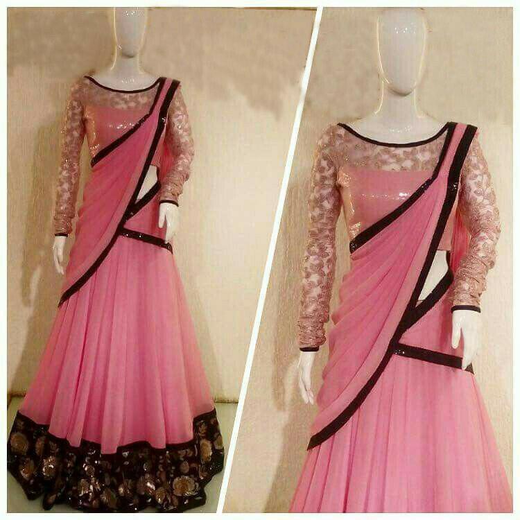 Designer Pink Foux Georgette Embroidery Lahengha Choli