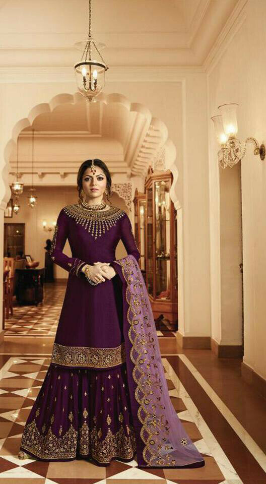 Designer Purple Color Sharar Suit