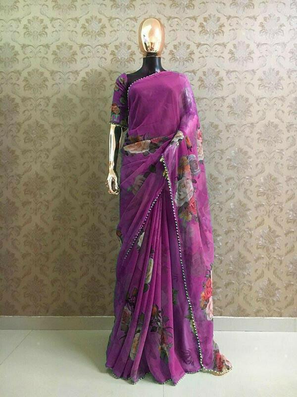 Designer Purple Colour Georgette Printed With Pearl Lace Saree