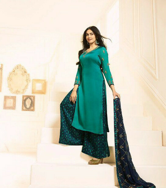 Designer Rama Color Georgette Embroidery Work Palazzo Suit