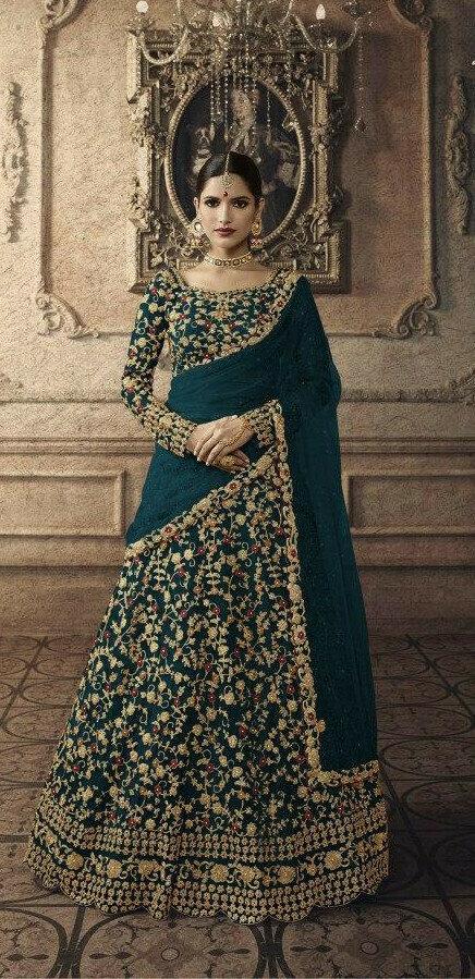 Designer Rama Colour Part Wear Lehenga Choli