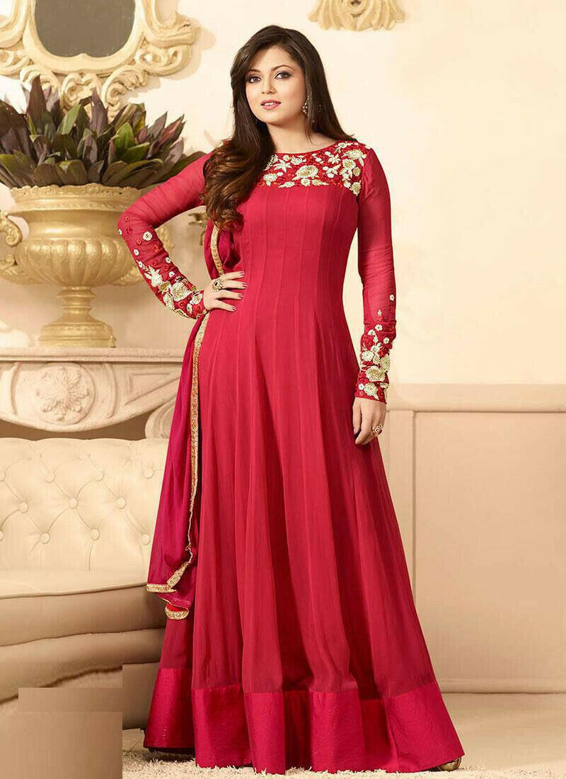 Designer Red Anarkali Suit
