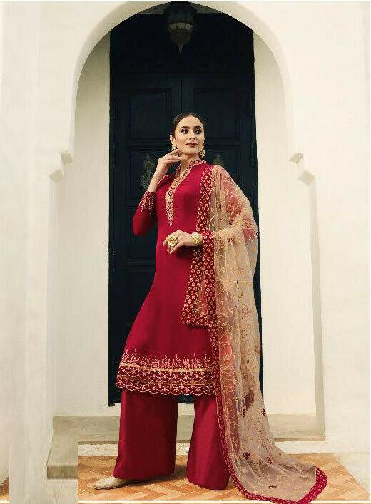 Designer Red Colour Salwar Suit