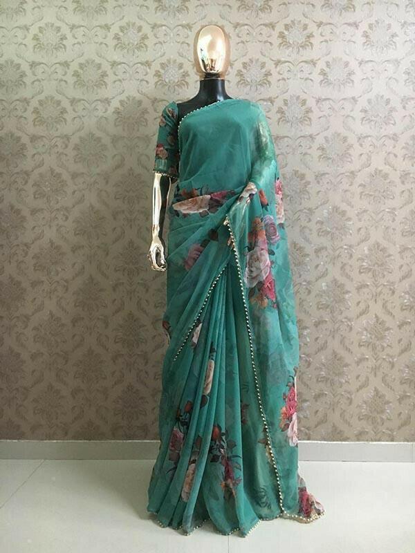 Designer Sea Green Colour Georgette Printed With Pearl Lace Saree