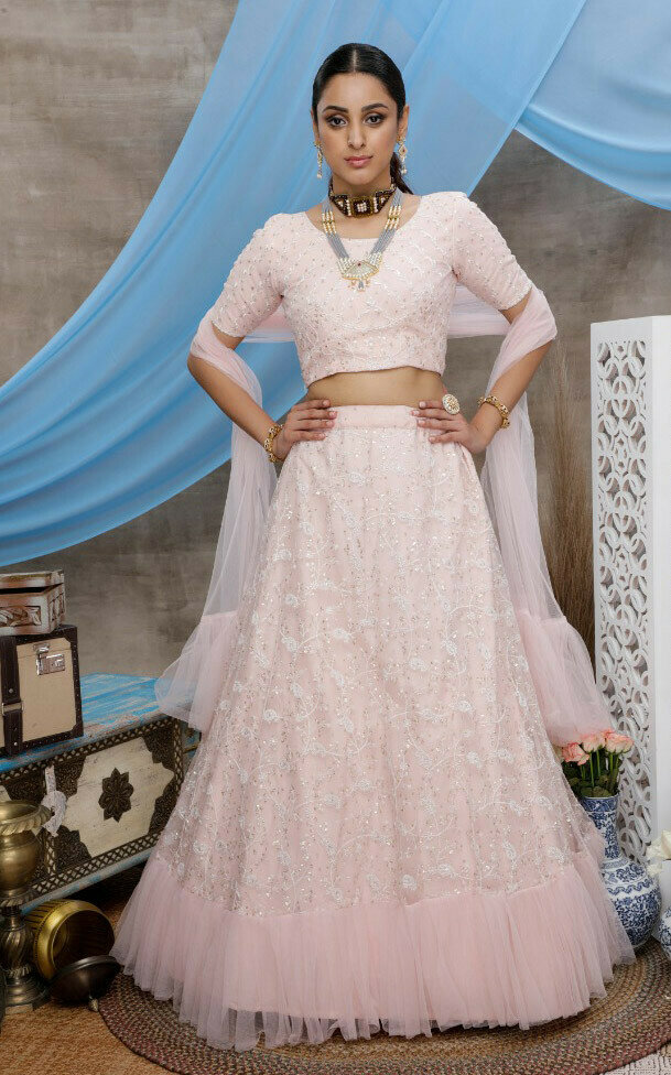 Designer Sequence Work Light Pink Lehenga Choli