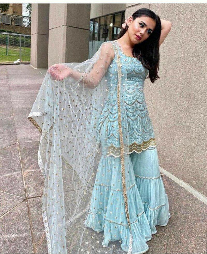 Designer Sky Blue Color Sharara Suit