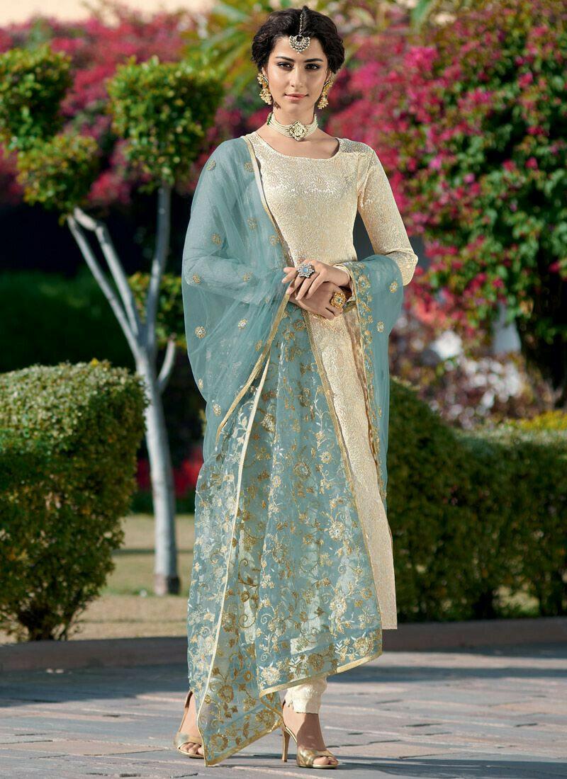 Designers Cream Brocade Jacquard Straight Cut Suit Dresses For Eid