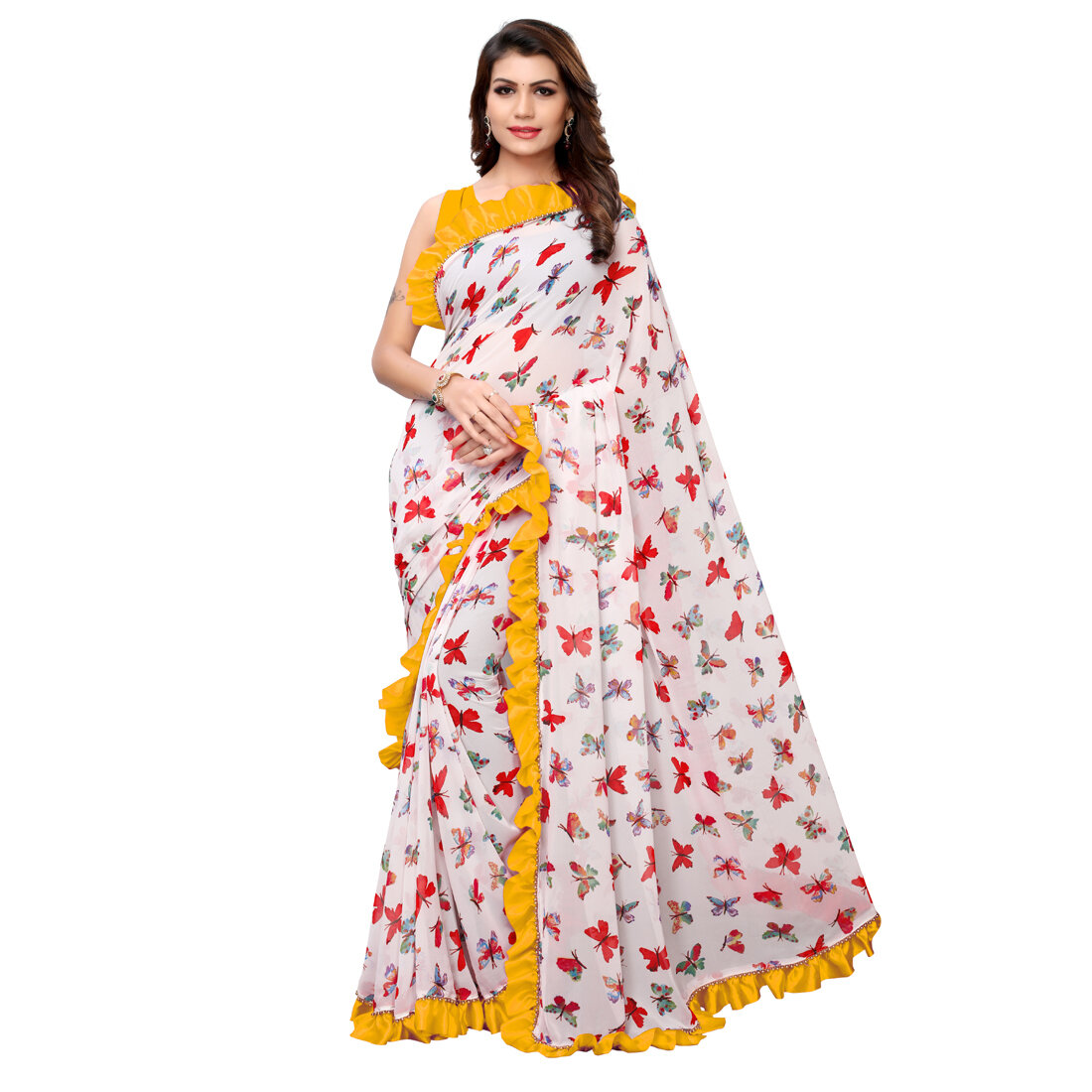 Desinger Georgette Yellow And White Ruffle Printed Saree 2020