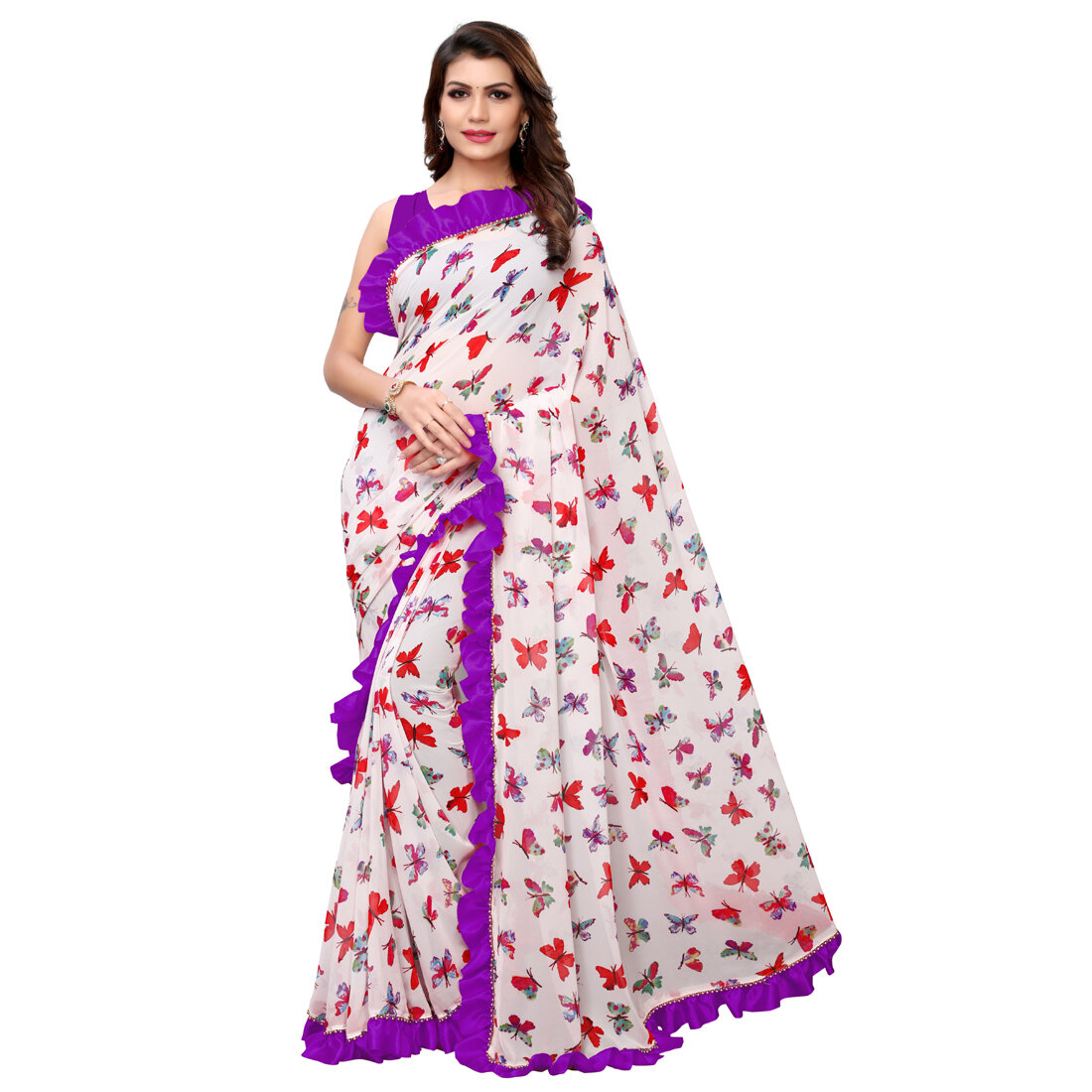 Desinger Purple And White Georgette Ruffle Printed Saree 2020