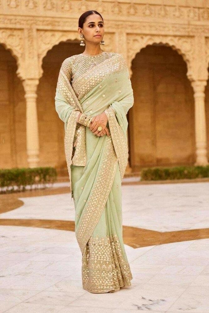 Desirable Light Pista Colour with Embroidery Coding Work Disgner Saree