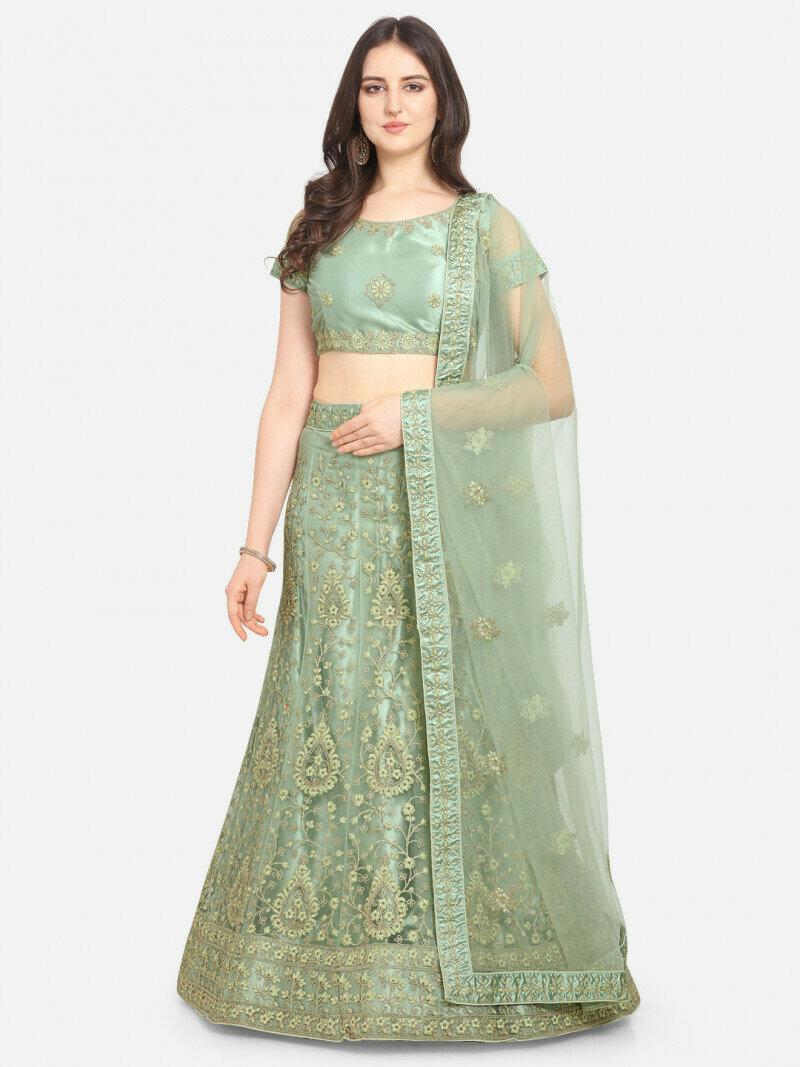 Divine Designer Light Green Lehenga Choli in low rate