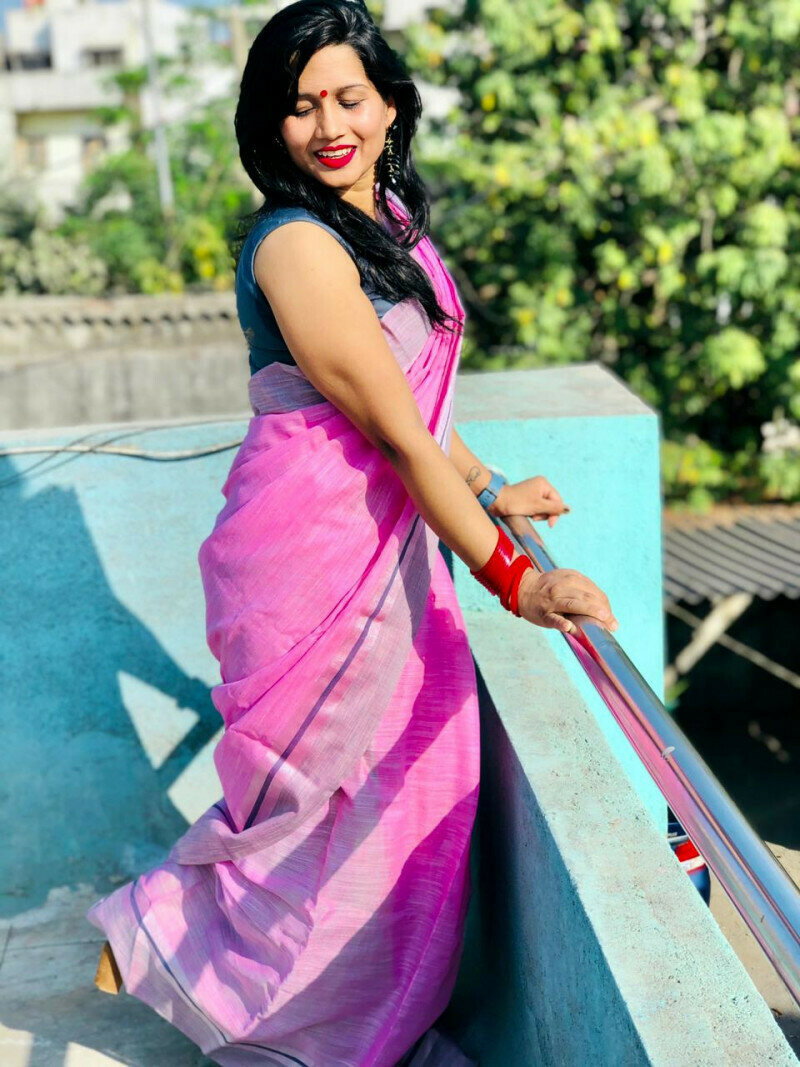Divine Designer Light Pink Saree in low rate