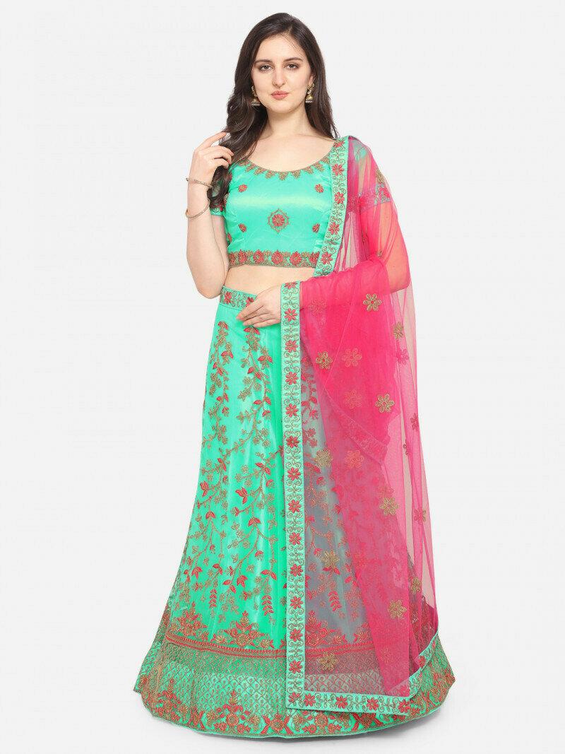 Divine Wedding Wear Bottel Green Lehenga Choli in low rate