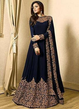 Drashti Dhami Navy Blue Embroidered Anarkali Suit