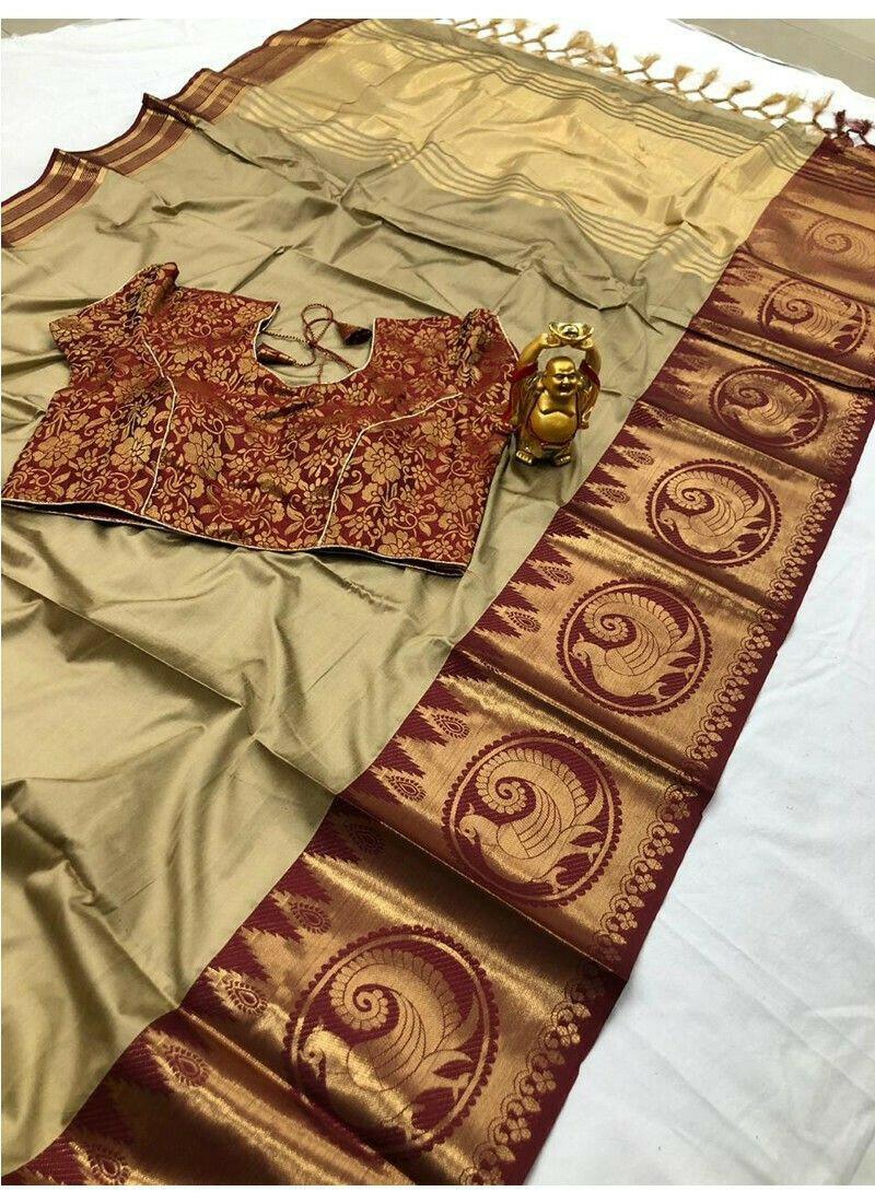 Elegant Golden Cotton Silk Wedding Wear Saree