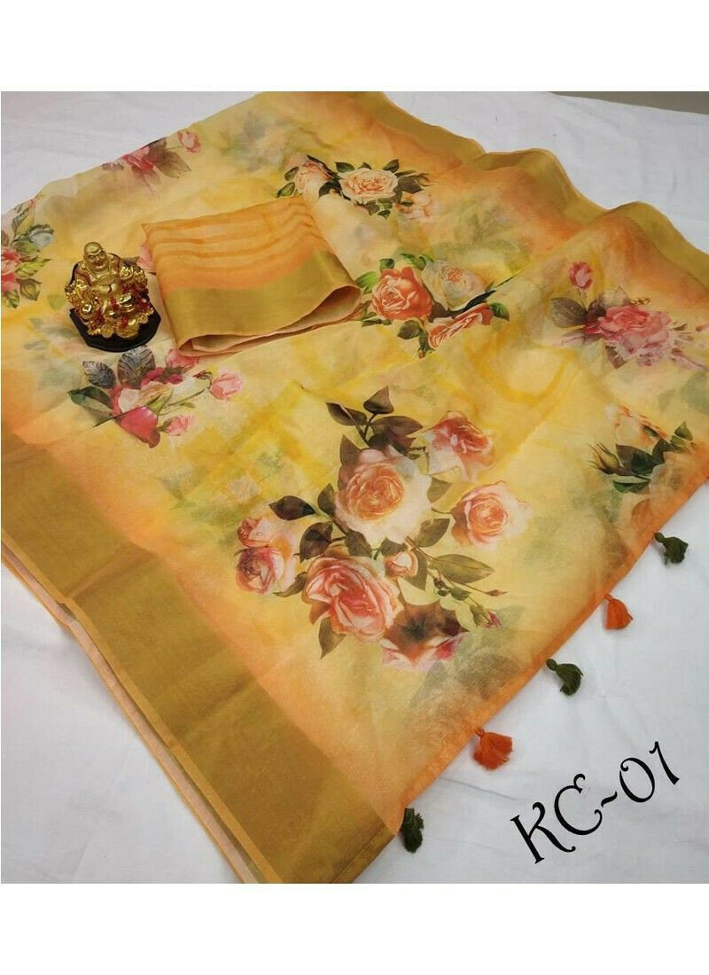 Elegant Multi Color Linen Wedding Wear Saree
