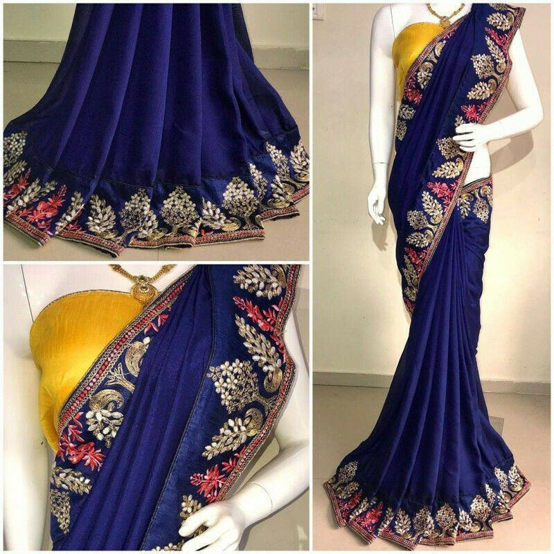 Elegant Navy Pure Vichitra Silk Designer Saree With Blouse Piece