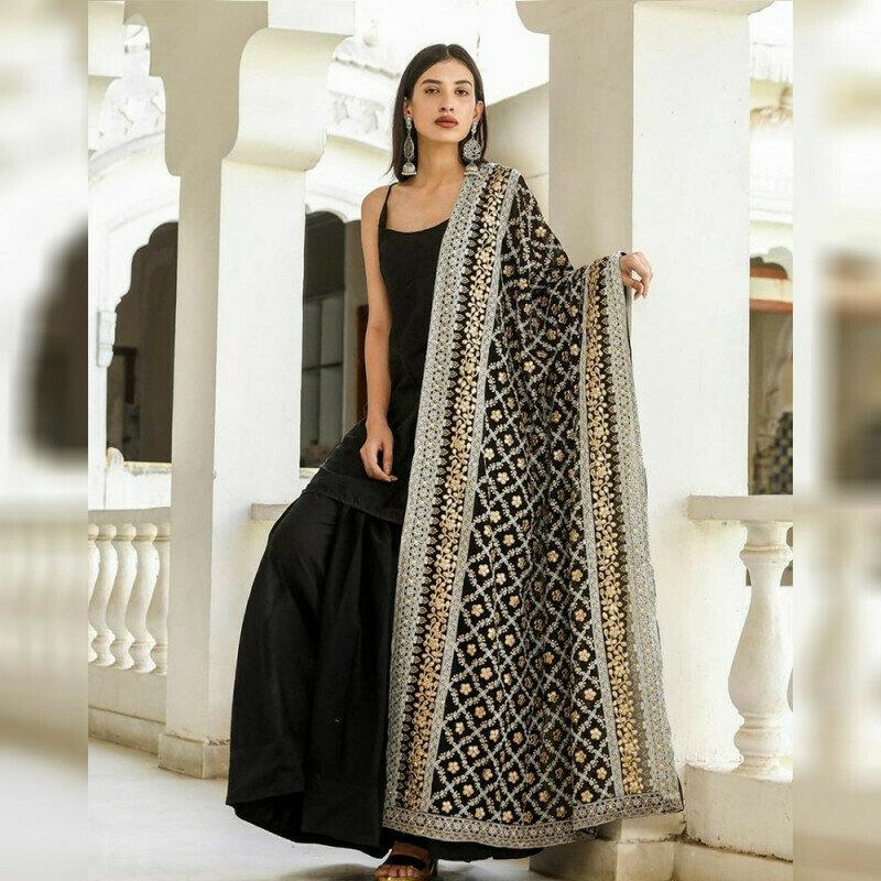 Elegant Taffeta Silk Black Color Top With Plazzo