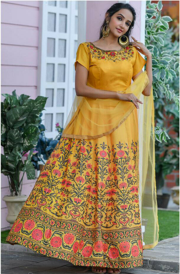 Elegant Yellow Haldi Occasion Long Gown For Wedding