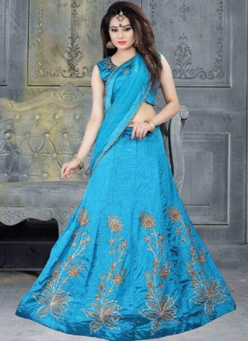Embroidered Banglori Silk Designer Lehenga Choli In Sky Blue Colour