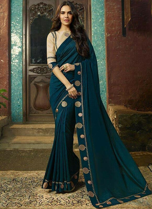 Esha Gupta Blue Art Silk Saree