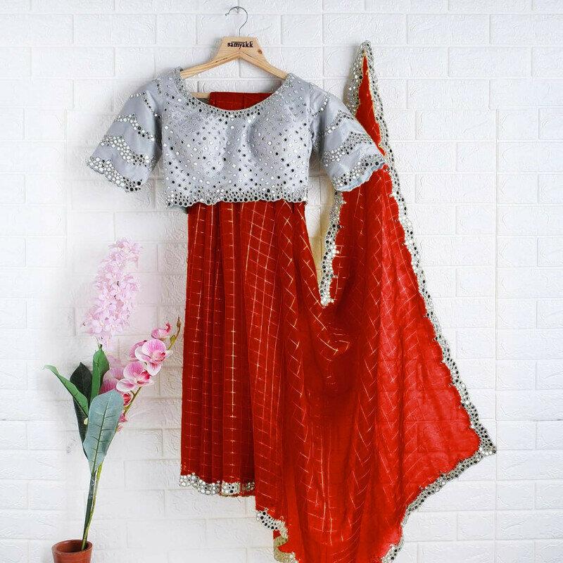 Ethnic Red Organza Silk Designer Saree With Mirror Work
