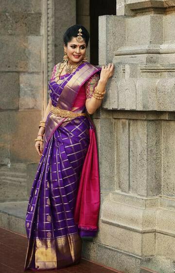 Evergreen purple Color Soft Silk Designer Saree