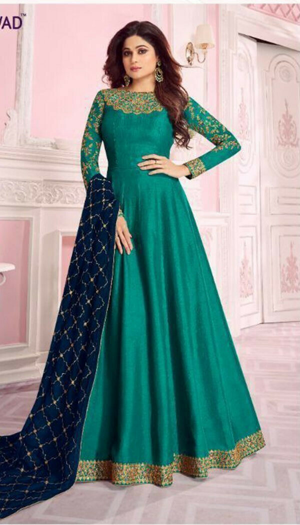 Excellent Green Colored Embroidary Work Semi-stitch Ethnic Wear Gown