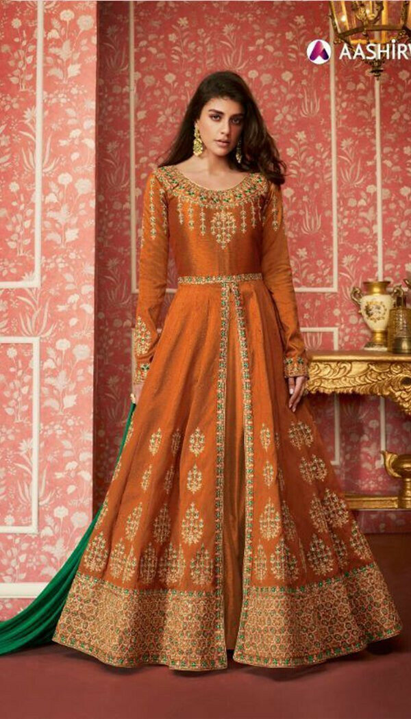 Excellent Orange Colored Embroidary Work Semi-stitch Ethnic Wear Gown