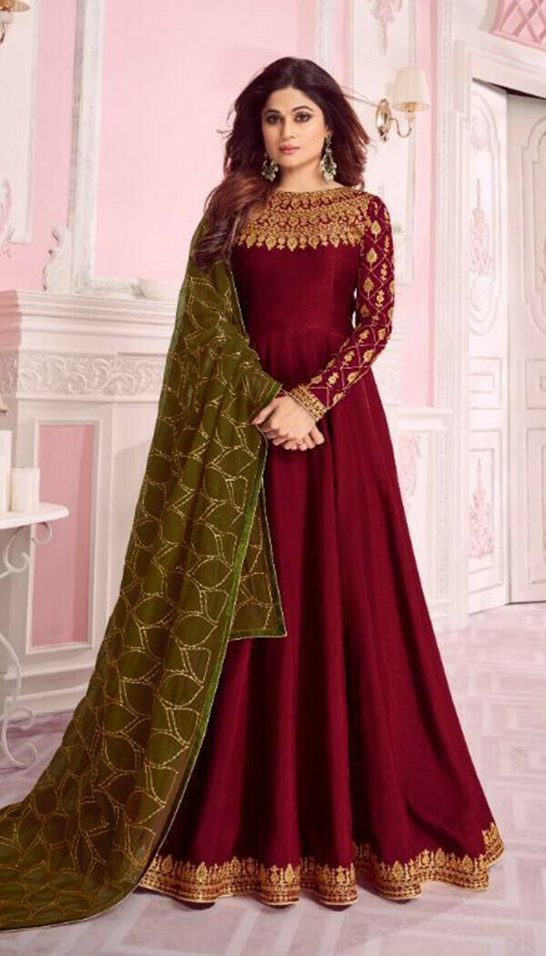 Excellent Red Colored Embroidary Work Semi-stitch Ethnic Wear Gown