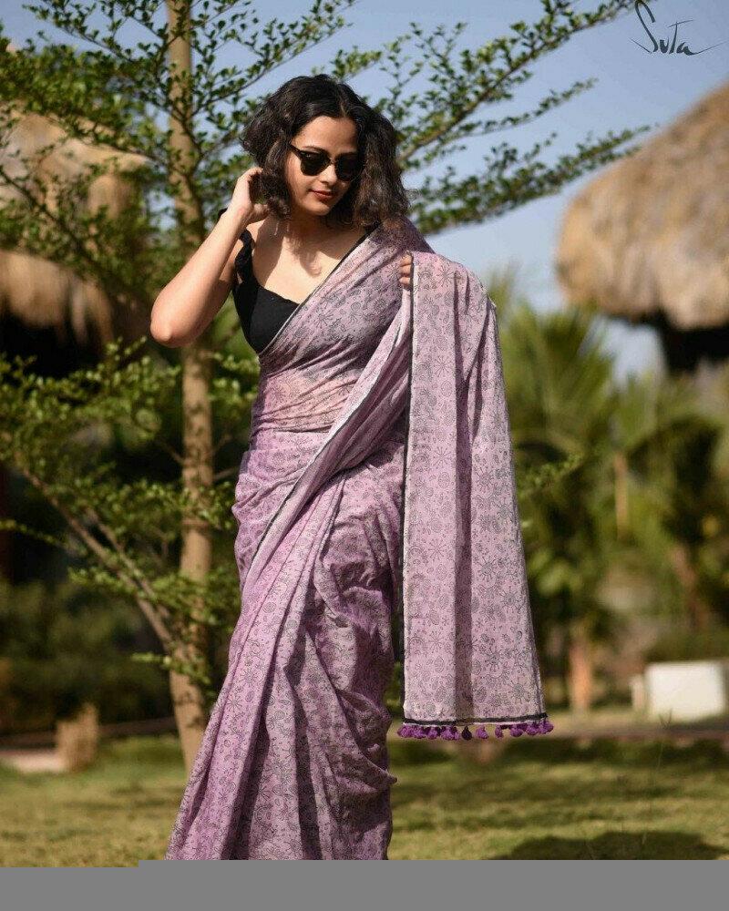 Exceptional Light Purple Colored Festive Wear Pure LInen Saree For Women