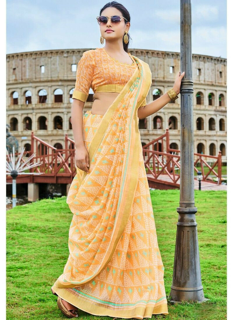 Exclusive Light Yellow Wedding Wear Cotton Saree With Blouse