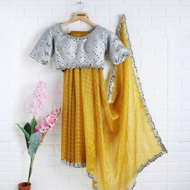 Eye Catching Mustard Yellow  Organza Festival Wear Saree With Mirror Work Blouse