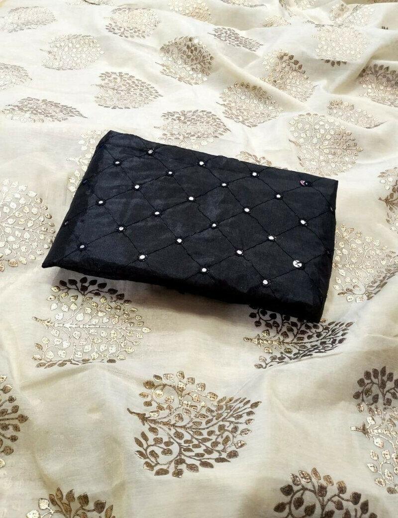 Fabulous Off White & Black Chanderi Silk With Denim Foil Work fancy designer saree
