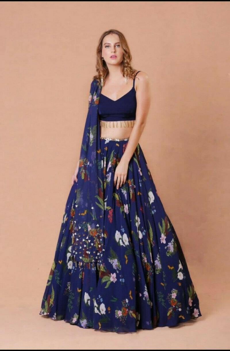 Fancy Blue Floral Georgette Party Wear Lehenga Choli