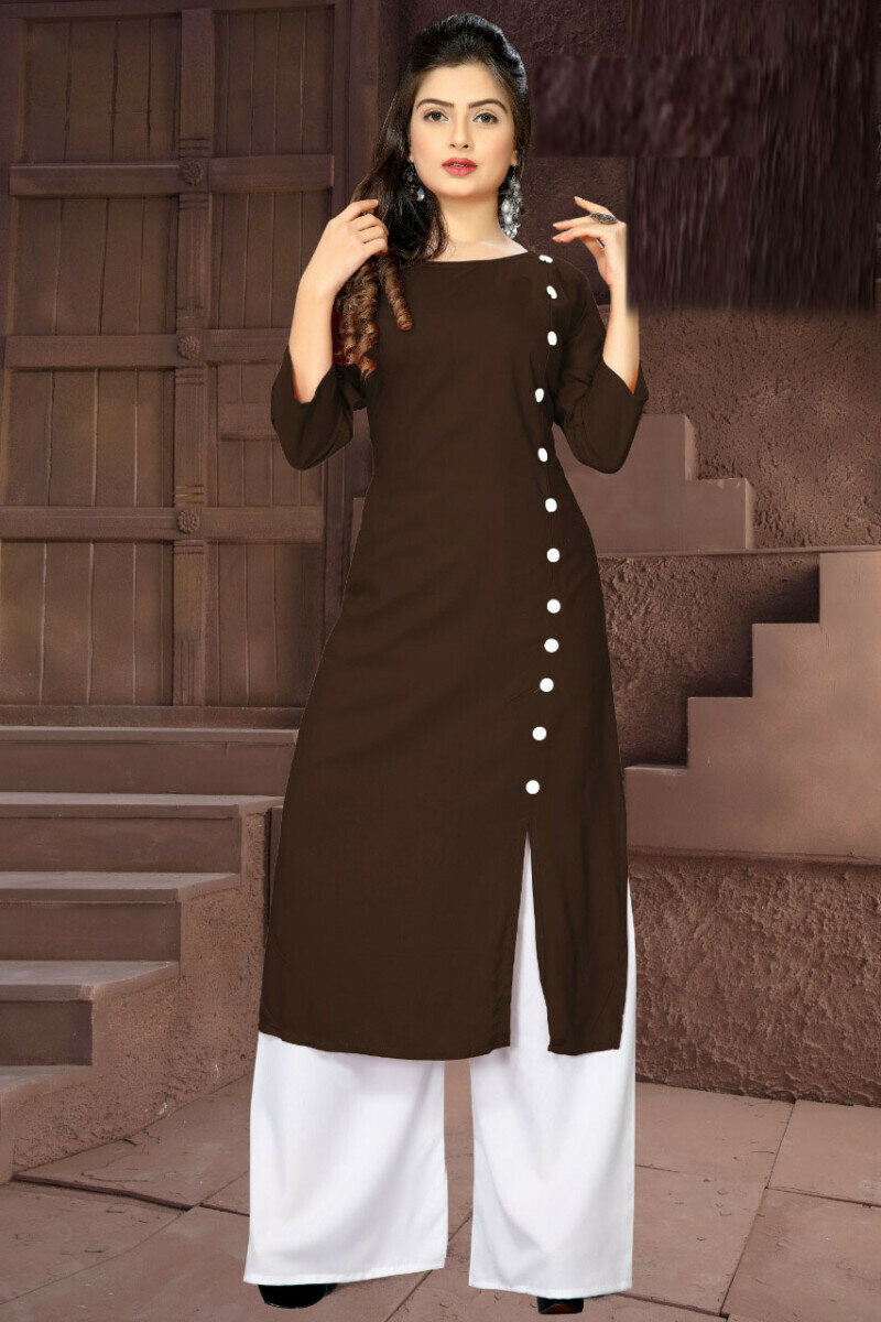 Fancy Brown Palazzo Suit For Girl