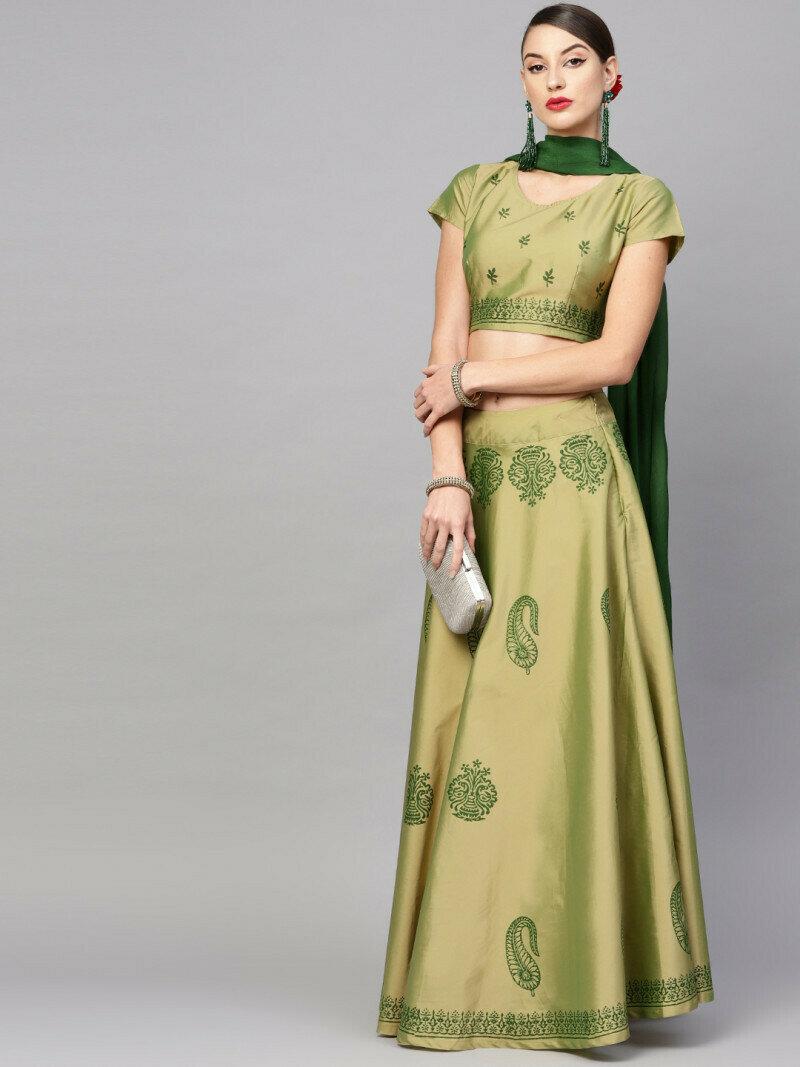Fancy Digital Printed Light Green Lehenga Choli