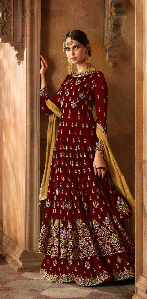 fancy maroon color georgette Anarkali Suit Online