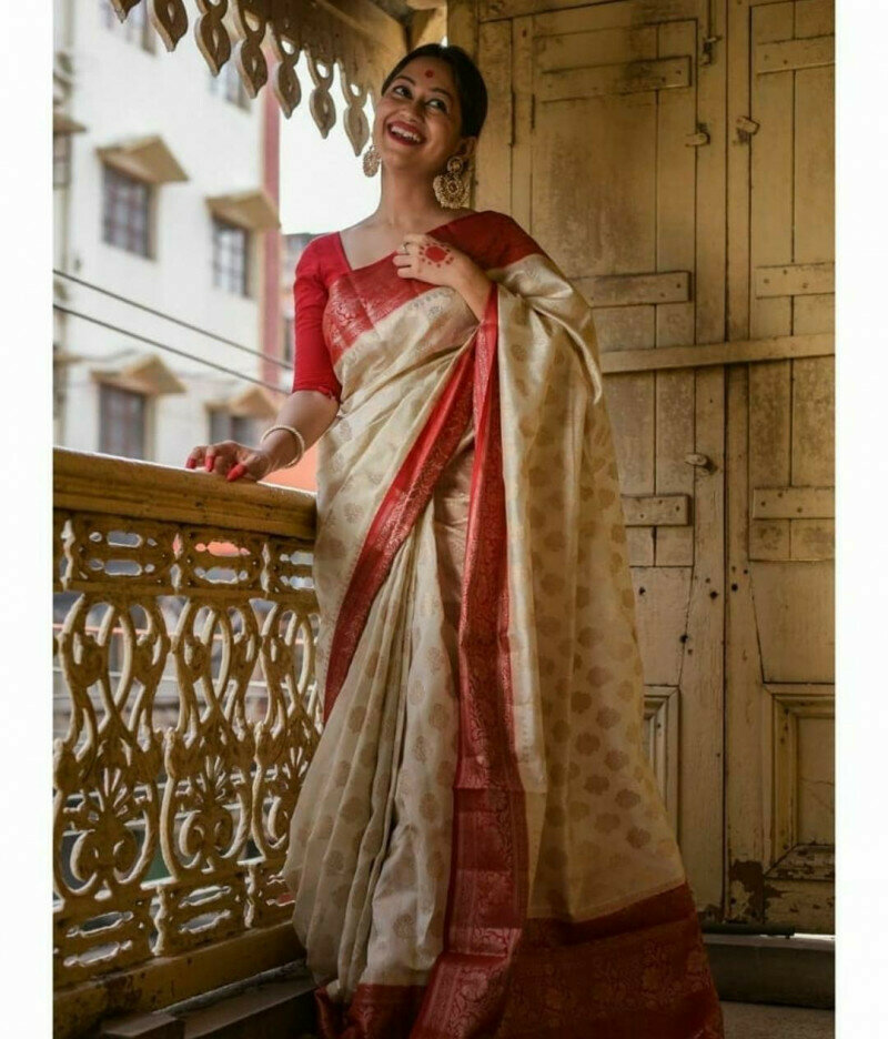 Fancy Off White Designer Saree