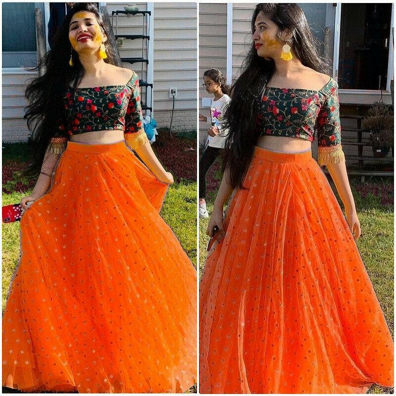 Fancy Orange Crop Top Lehenga Choli For Girls